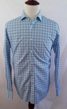 #theSmartShoppe THOMAS DEAN Mens Large Blue Check Flip Cuffs Button Front Shirt L/S Jackstone #ThomasDean #ButtonFront
