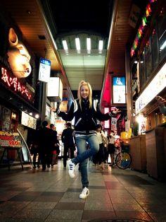2ne1 @krungy21: Tourist Dara in Osaka!!! Blackjack nolza no minasan~ asita aimasho!!! :)