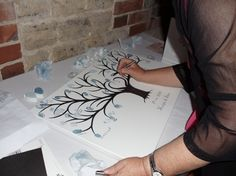 alternative wedding guestbook - fingerprint tree