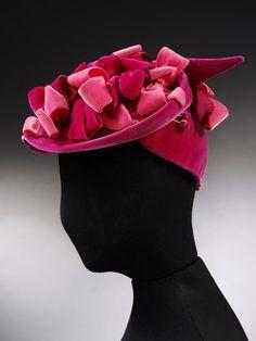 Pink velvet hat with velvet bows, Thaarup. Museum Number to 1950s Hats, 1940s, Turbans, Derby, Velvet Hat, Pink Velvet, Vintage Ladies, Vintage Hats, Vintage Style