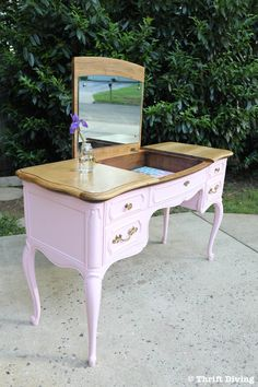 French Provincial Vanity Makeover: BEFORE and AFTER With Paint and Scrapbook Paper! - Thrift Diving Blog