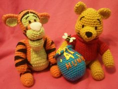 NERD DOLLZ Tigger and Winnie  the Pooh, Amigurumi Crochet doll, Handmade, Great for the Holidays, via Etsy.