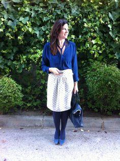 #Working #Outfit con falda de lunares de #labocoque