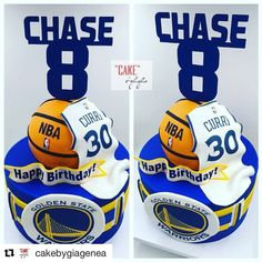 with ・・・ Golden State Warriors themed Cake - thekrafteekorner Basketball Party, Basketball Cakes, 10th Birthday Parties, Birthday Fun, Birthday Cake, Birthday Ideas, Stephen Curry Cake, Golden State, Stephen Curry Birthday
