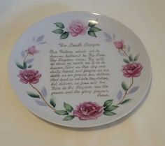 """Vintage """"The Lords Prayer"""" Decorative China Plate  FREE SHIP"""