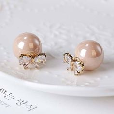 Cheap Elegant Diamond-bordered Bow Zircon Pearl Round Dual-purpose Women Earring Studs For Big Sale! Bar Stud Earrings, Diamond Drop Earrings, Crystal Earrings, Earrings Handmade, Women's Earrings, Earring Studs, Diamond Jewelry, Silver Earrings, Pearl Necklace