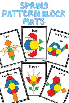 Spring themed pattern block printable mats includes 10 different spring-themed images for students to build. Spring Activities, Hands On Activities, Preschool Activities, Pattern Block Templates, Pattern Blocks, Kindergarten Lessons, Spring Theme, Preschool Math, Math Centers