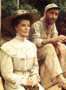 Kate as Rose Sayer and Bogie as Charlie Allnut in The African Queen (1951)