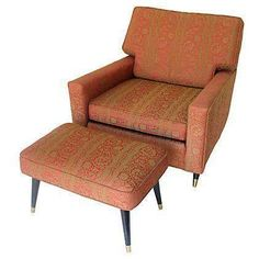 Rose & Gold Mid-Century Club Chair & Ottoman on Chairish.com