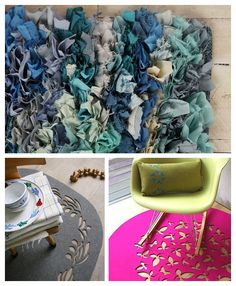 No instructions - but a variety of possible projects for rugs, in different styles, throughout the house.