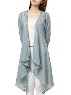 Casual Women Solid Color Linen Long Cardigan - Newchic Plus Size Outerwear