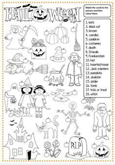 Halloween - matching worksheet - Free ESL printable worksheets made by teachers Halloween Words, Halloween Games, Halloween Activities, Halloween Crafts, Halloween Puzzles, Trendy Halloween, Halloween Vocabulary, Halloween Worksheets, Worksheets For Kids