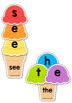 FREE Sight Words Center: Summer Ice Cream Sight Word Building {EDITABLE PDF} This book contains an editable sight word spelling activity intended for use in centers and small groups with children in Preschool Kindergarten (Prep) and First Grade. Kindergarten Centers, Preschool Literacy, Homeschool Kindergarten, Kindergarten Reading, Kindergarten Activities, Kindergarten Crafts Summer, Kindergarten Sight Word Games, Homeschooling, Preschool Sight Words