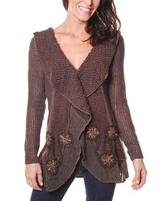 Brown Embroidered Flower Cardigan
