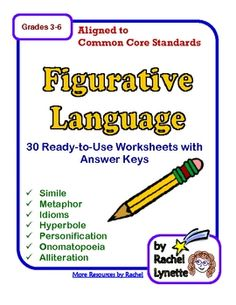 These 30 ready-to-use figurative language printables are perfect for learning to identify and write seven common types of figurative language: simile, metaphor, idioms, hyperbole, personification, onomatopoeia, and alliteration. Each type of figurative language includes an introductory worksheet with a definition and examples. The rest of the worksheets provide opportunities for practice.
