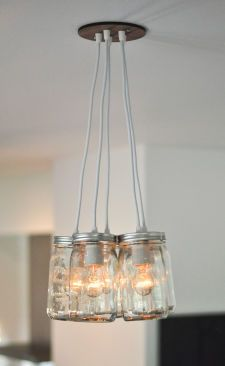 Mason Jar Light Chandelier - Five Jar Quart Size