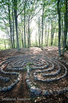 From + Biomorphic Org + labyrinths, sacred geometry and organic architecture Facebook Page.  Their description:   Most of the labyrinths I build are on the coast.. . this is the first I have built in a forest, surrounded by young trees and mossy rocks.