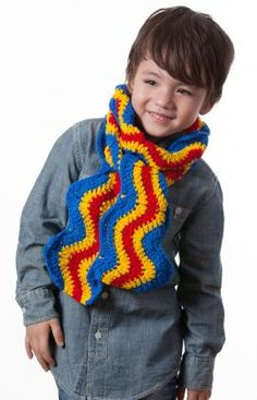 Outdoor ready childs hat scarf chase the cold with this kid size best free crochet free brilliant kids ripple scarf crochet pattern from redheart dt1010fo