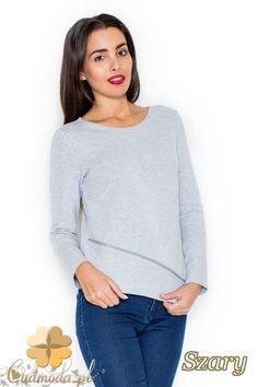 CM2076 Bawełniana bluzka damska z długim rękawem - szara