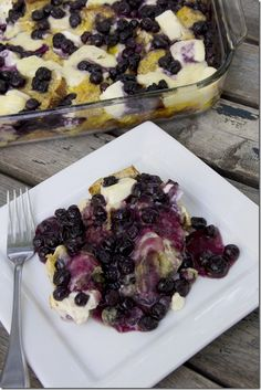 White Chocolate Blueberry Cream Cheese French Toast Casserole  {It's AMAZING!}