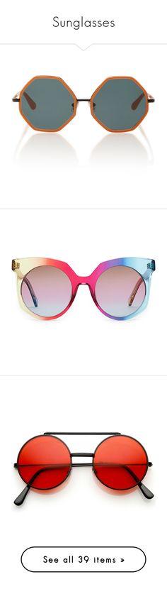 """Sunglasses"" by erikajosefina ❤ liked on Polyvore featuring accessories, eyewear, sunglasses, glasses, rosie assoulin, orange, metal sunglasses, orange glasses, oversized glasses and over sized sunglasses"