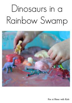 Dinosaurs in a Rainbow Swamp Dinosaurs Preschool, Dinosaur Activities, Activities For Boys, Sensory Activities, Sensory Play, Crafts For Boys, Kid Crafts, Projects For Kids, Fun Learning