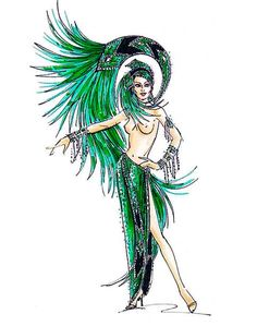 Emerald Jubilee showgirl costume sketch by Bob Mackie