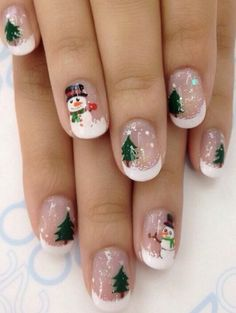 70 Pretty Festive and Winter Nail Art Designs - Page 68 - Fab Wedding Dress, Nai. - 70 Pretty Festive and Winter Nail Art Designs – Page 68 – Fab Wedding Dress, Nail art designs, - Diy Christmas Nail Art, Christmas Gel Nails, Xmas Nail Art, Winter Nail Art, Holiday Nails, Winter Nails, Snowman Nail Art, Christmas Christmas, Christmas Sweaters