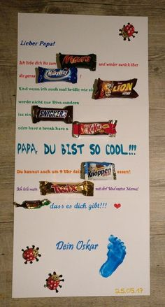 Vatertag Mars Milky Way Lion Snickers Kit Kat Knoppers Twix Merci Schokoriegel Plakat Father's Day Geschenk Papa Sprüche Poster