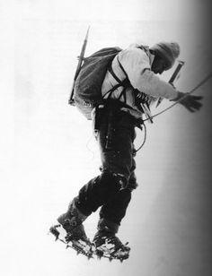 Classic shot of Yvon Chouinard on steep ice.