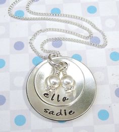 Hand stamped mother necklace  dome pods with 2 by ArtOfSilver, $48.00