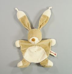 Doudou plat lapin velours beige Nicotoy garçons in Bébé, puériculture, Peluches, doudous   eBay