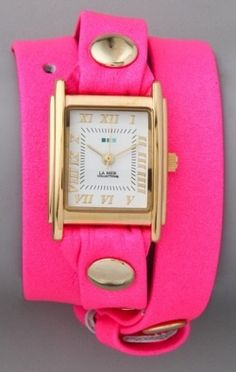 love this watch!  pretty sure its by la mer. might be time for a new watch... it would match my bright pink marc jacobs purse!