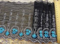 Black Tulle Lace Trim Embroidered Hollowed Out by ILoveCraft2012, $9.99