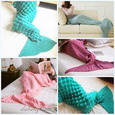 Handwork Crocheted Mermaid Tail Blanket Knitting Kids/Adult Sofa Sleeping Bag
