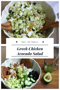 This Greek Chicken Avocado Salad combines all the flavors of a traditional Greek salad without any of those pesky nightshades. It makes a perfect quick and healthy dinner and is great for packing in lunches or taking on picnics. Plus it can be thrown together in a matter of minutes and if you're not in the mood for salad, the marinated chicken is far from your typical dry chicken breast and would be great served alongside baked sweet potatoes and your favorite veggies. AIP/ Paleo…