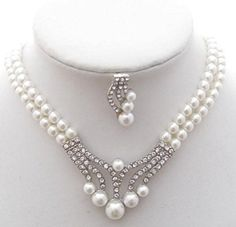 Fancy Elegant Jewelry Collection Vintage 2 Strand White Faux Pearl Bridal Necklace Sets Crystal >>> Want to know more, click on the image.