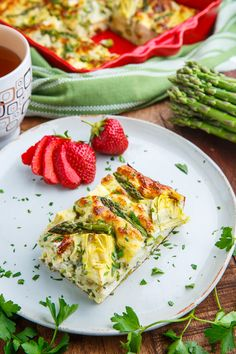 Asparagus and Artichoke Breakfast Casserole Recipe : A light, healthy and tasty summer breakfast casserole with asparagus, artichokes and plenty of cheese! Brunch Egg Casserole, Asparagus Casserole, Casserole Recipes, Best Asparagus Recipe, Asparagus Egg, Brunch Recipes, Summer Recipes, Breakfast Recipes, Frittata
