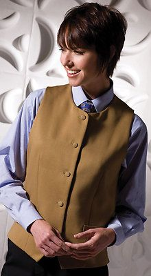 Women's Self Fabric Back Button Closure Classic Bistro Vest. 7392 Overview  Bistro Vest with ottoman weave offers a clean, crisp, classic style. Perfect for banquets, restaurants or casinos.  Description  100% polyester, 5.8 oz.wt, Bistro vest with ottoman weave, High collar and matching buttons, Two funtional welt pockets, Self fabric back, fully lined, Machine washable.  Care Instruction  Machine Wash Warm, Gentle Cycle.