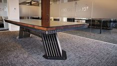 The Pilot table - Handmade vintage industrial boardroom meeting table in Walnut and steel.