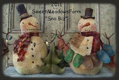 Easy PATTERN Snowman with mittens for sale and Christmas Tree doll $8.00
