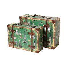 Storage Chests/Suitcase Vintage European Luggage ($111) ❤ liked on Polyvore featuring home, home decor, small item storage, vintage green, green box, green home decor, colored boxes, luggage trunk and vintage home decor
