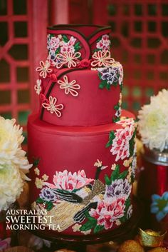 Cuisine Of All Countries: Oriental Wedding - Chinese Dress Inspired Cake . Gorgeous Cakes, Pretty Cakes, Amazing Cakes, Crazy Cakes, Fancy Cakes, Unique Cakes, Creative Cakes, Chinese Cake, Chinese Food