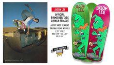 Prime Jason Lee Grinch LTD Hand Screened Skateboard Deck Jason Lee, Blue Stain, Skateboard Decks, Grinch, Skateboards, Skate Board