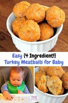 Recipes Breakfast 4 Ingredients These turkey meatballs for baby are perfect for babies just starting out with fingers foods. They have a minimal ingredient list and are easy to freeze. Easy Ingredient) Turkey Meatballs for Baby - Baby Food Recipes, Snack Recipes, Meat Recipes, Dairy Free Recipes Baby, Freeze Baby Food, Turkey Recipes, Turkey Food, Pancake Recipes, Yummy Snacks