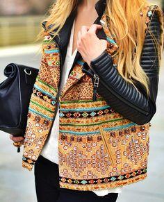 embellished leather jacket / texture