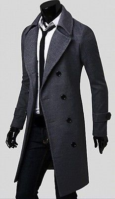 Men's Slim Stylish Trench Coat Winter Long Jacket Double Breasted Overcoat Coat
