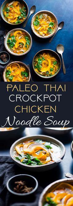 Thai Crockpot Paleo Chicken Noodle Soup - A Thai twist on the classic with butternut squash noodles so it's grain/gluten free, compliant under 300 calories and 3 SmartPoints! A low-carb option is included! Easy Chicken Pho Recipe, Low Carb Chicken Noodle Soup, Paleo Chicken Soup, Paleo Soup, Noodle Soups, Thai Chicken, Chicken Meals, Gnocchi, Butternut Squash Noodle