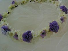 Rustic Wedding Lavender Rose Flower Crown Fairy Tiara Purple and Cream Rose…