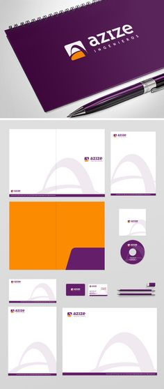"""Diseño de logotipo para Azize, empresa de ingeniería mexicana que realiza todo tipo de proyectos de ingeniería civil, industrial y medioambiental. el logotipo basa su isotipo en una combinación de varios conceptos. A partir de la """"A"""" inicial se creó una imagen que además de ser una """"A"""" simboliza un puente que cruza por encima de una carretera. La forma tan sencilla de representarlo, con dos simples trazos, le dan una imagen sobria pero muy estilizada."""